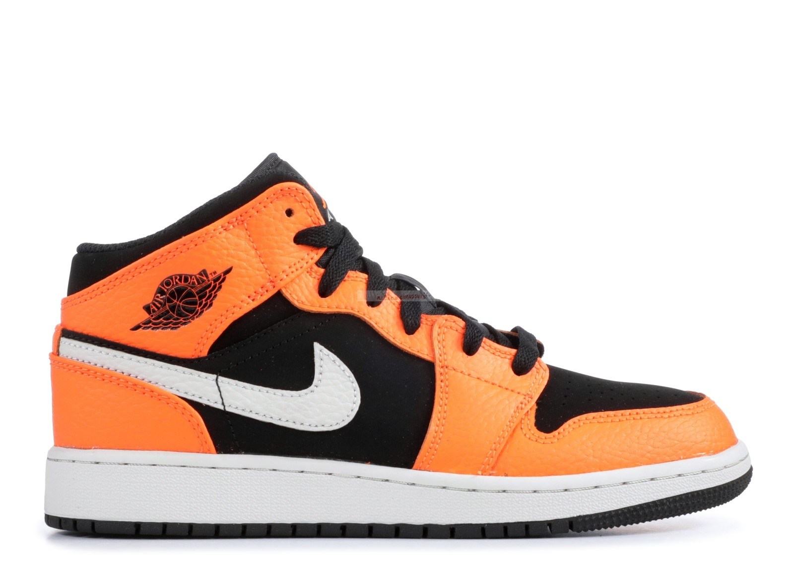 Air Jordan 1 Mid (Gs) Noir Orange (554725-062) Chaussure de Basket