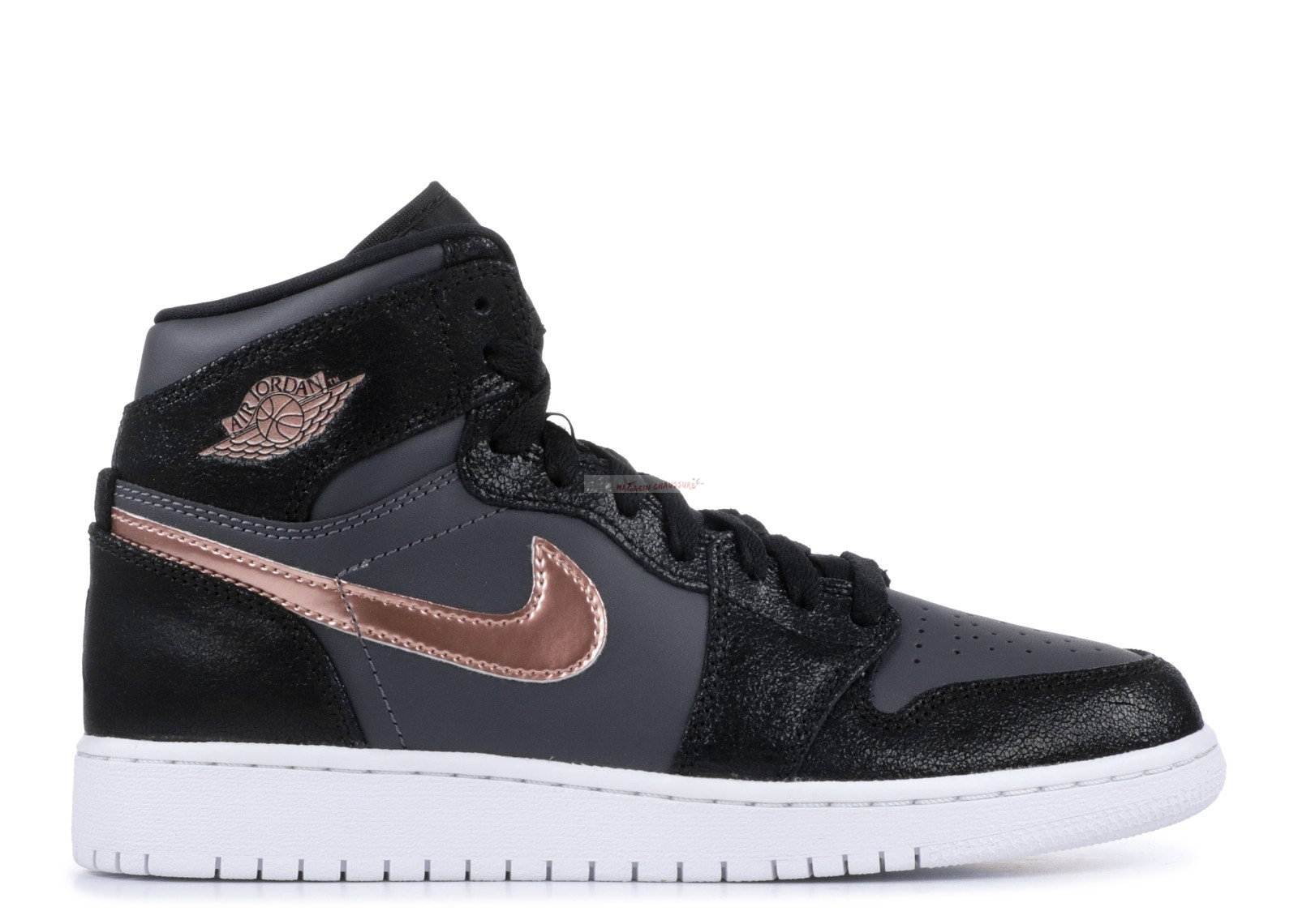 Air Jordan 1 Retro High Bg Noir Or (705300-006) Chaussure de Basket