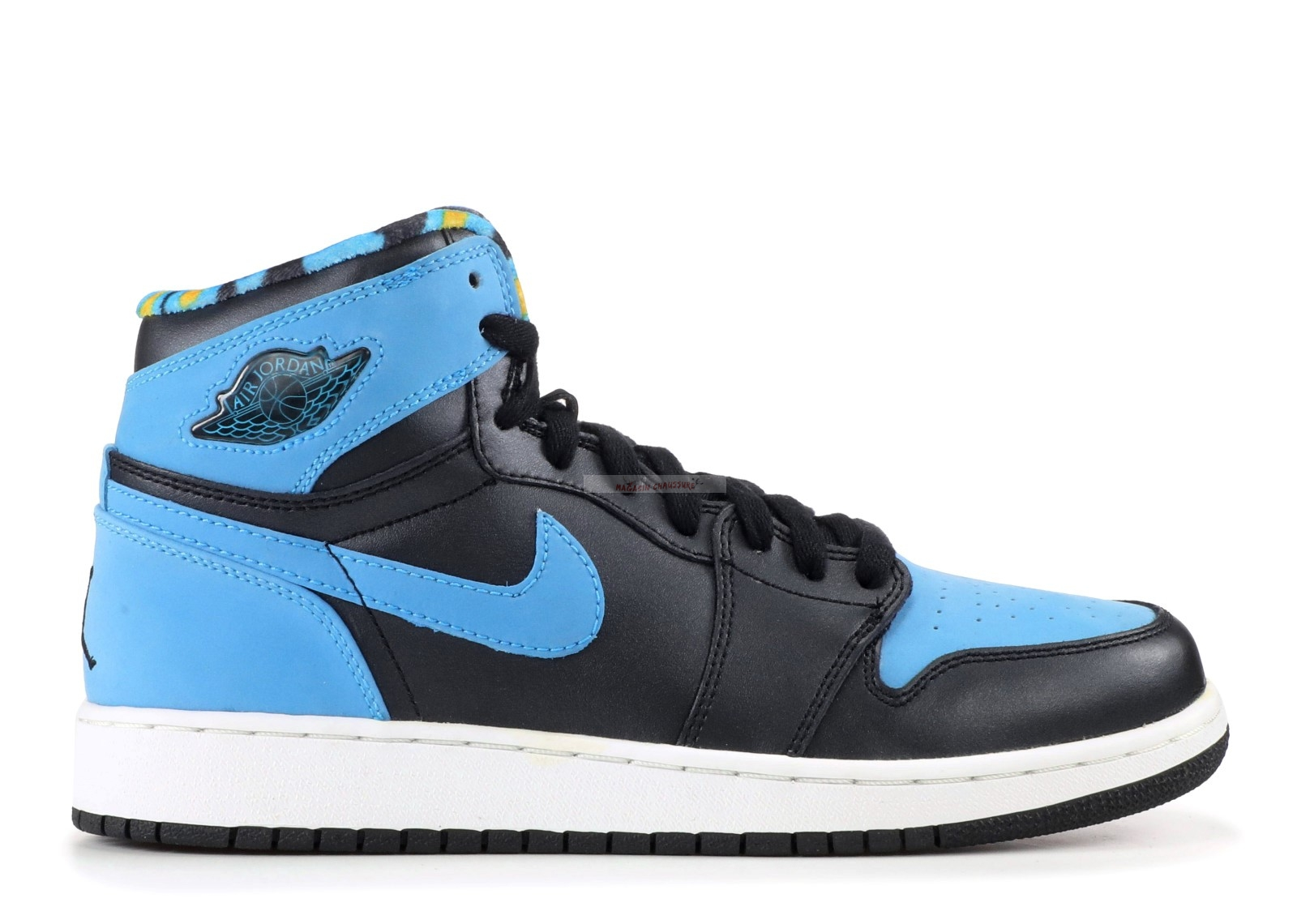 Air Jordan 1 Retro High (Gs) Noir Bleu (332148-041) Chaussure de Basket