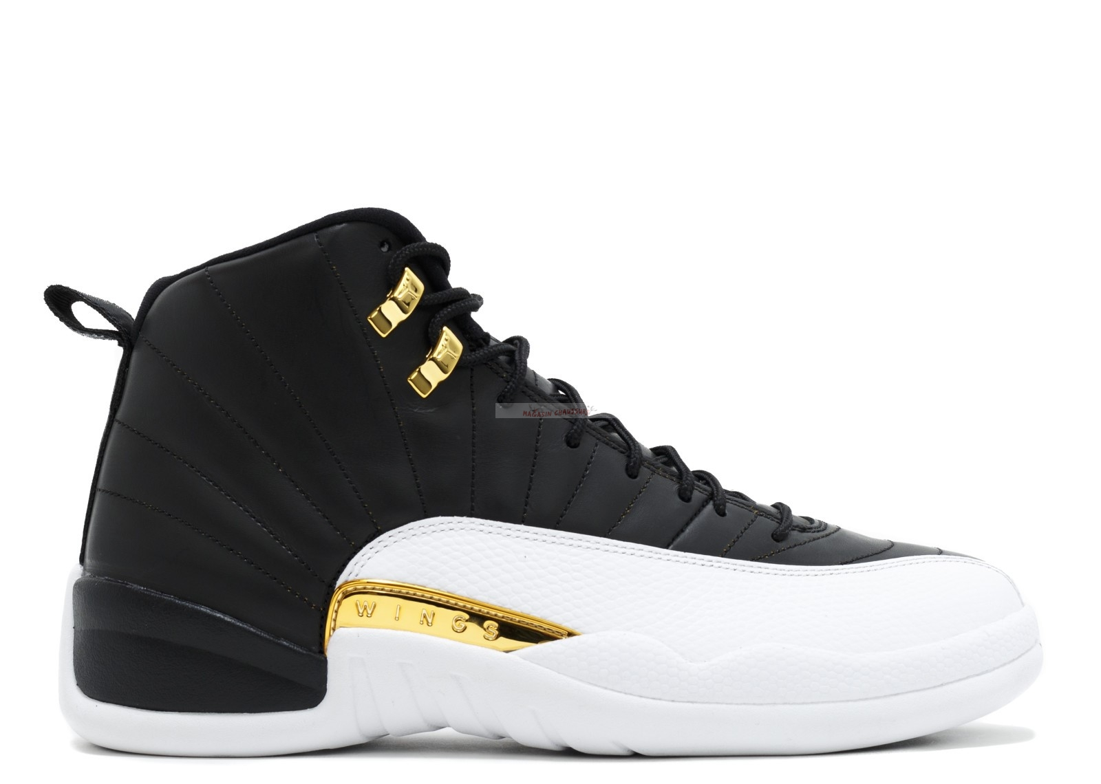 "Air Jordan 12 Retro ""Wings"" Noir Blanc Or (848692-033) Chaussure de Basket"
