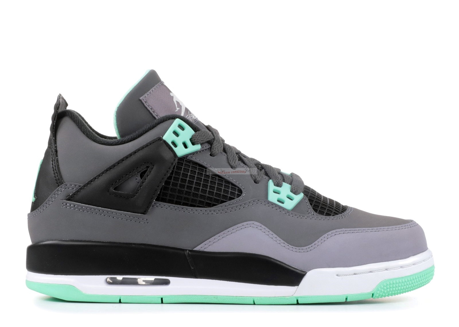 "Air Jordan 4 Retro (Gs) ""Green Glow"" Gris Vert (408452-033) Chaussure de Basket"