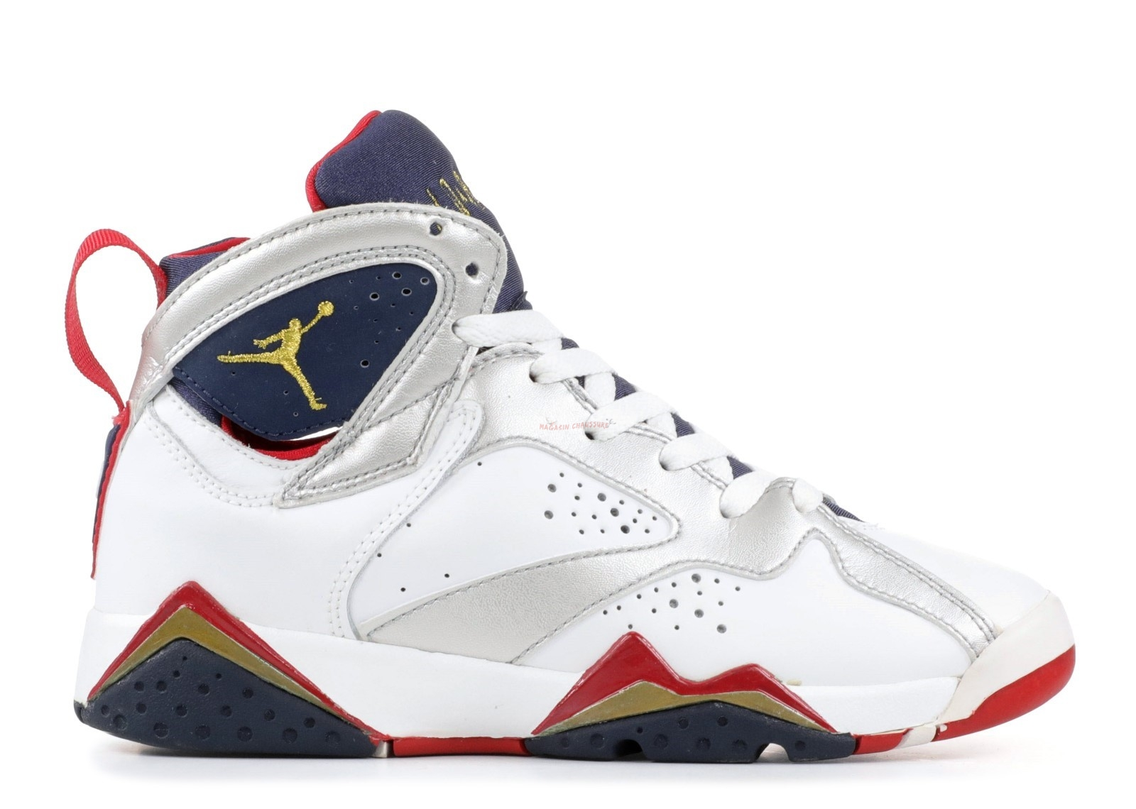 "Air Jordan 7 Retro (Gs) ""Olympic"" Blanc Marine Rouge (304774-171) Chaussure de Basket"