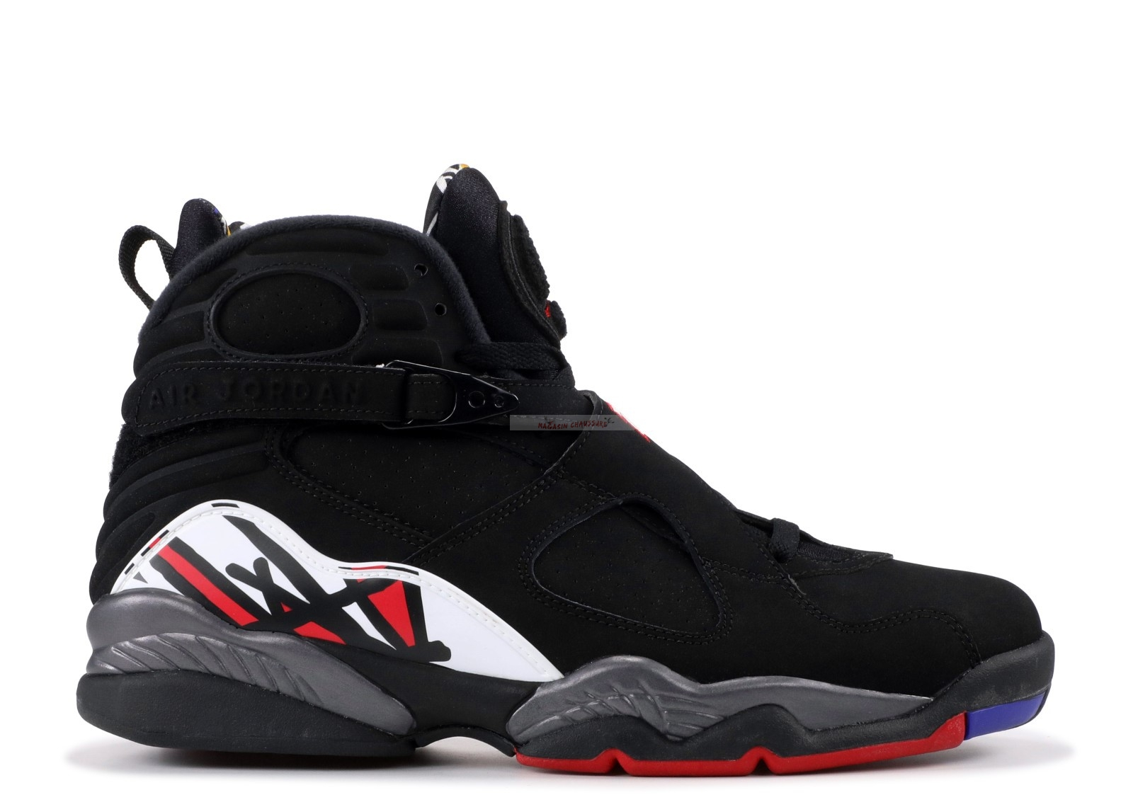 "Air Jordan 8 Retro ""Playoffs 2013 Release"" Noir Gris Blanc (305381-061) Chaussure de Basket"