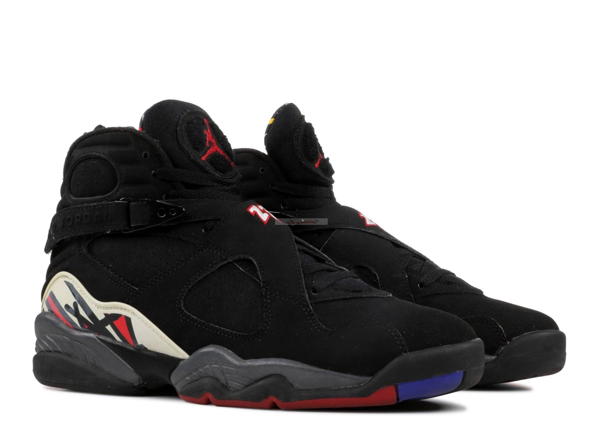 "Air Jordan 8 Retro ""Playoffs"" Noir Gris Blanc (305381-061) Chaussure de Basket"