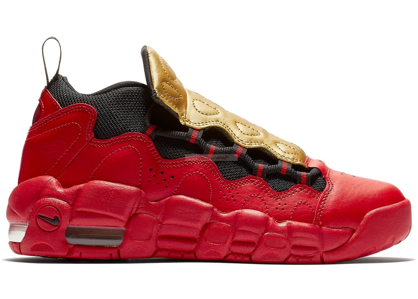 Air More Money (Gs) Rouge Métallique Or (ah5215-600) Chaussure de Basket