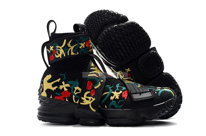 "Kith X Nike Lebron Xv 15 Strap ""Long Live The King"" Noir Floral Chaussure de Basket"