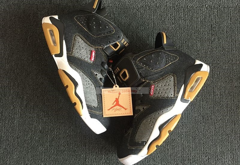 Levis X Air Jordan 6 Noir Marron Chaussure de Basket