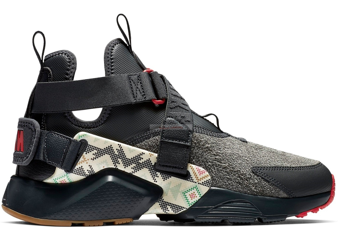 "Nike Air Huarache Run - Femme City Utility ""N7"" Noir Rouge (at6170-001) Chaussure de Basket"