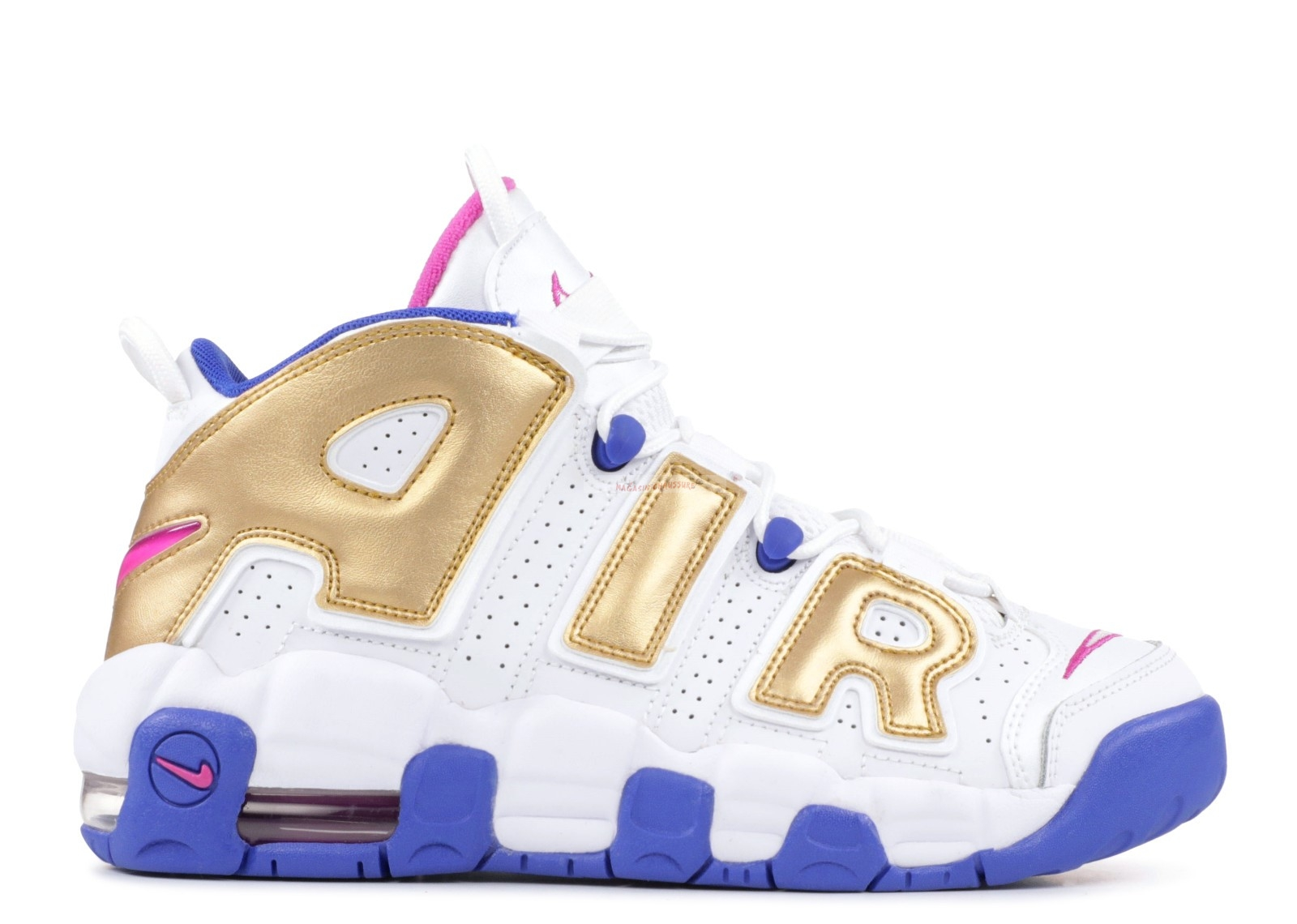 Nike Air More Uptempo (Gs) Blanc Or Bleu (415082-106) Chaussure de Basket