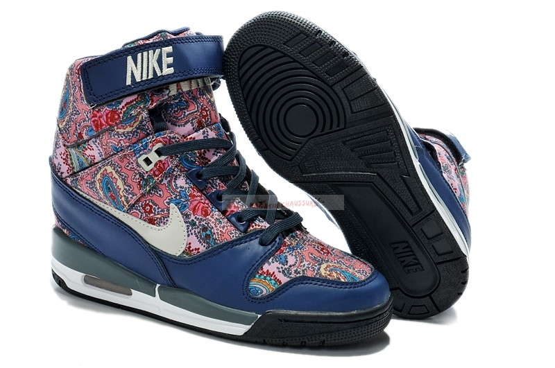 Nike Air Revolution Sky - Femme High Wedge Sneakers Bleu Multicolore (599410-200) Chaussure de Basket
