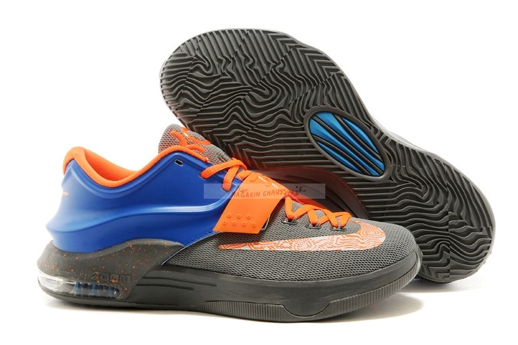 Nike Kd Vii 7 Gris Orange Bleu Chaussure de Basket
