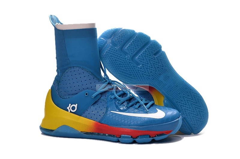 "Nike Kd Viii 8 Elite ""Powder Blue"" Bleu Jaune Orange Chaussure de Basket"