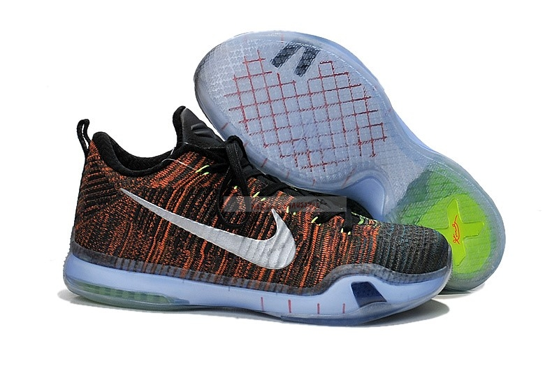 "Nike Kobe X 10 Low Elite ""Htm Race Car"" Vert Orange Noir Chaussure de Basket"