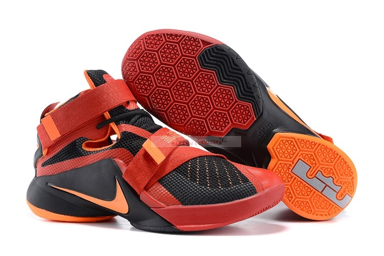 Nike Lebron Soldier Ix 9 Noir Rouge Orange Chaussure de Basket