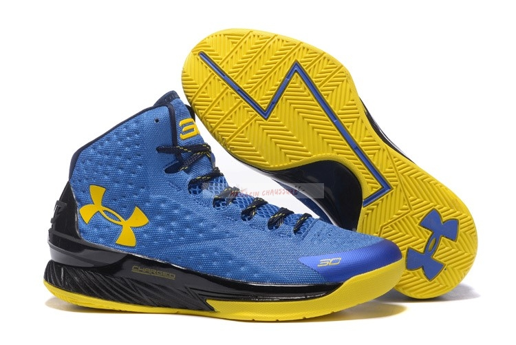Under Armour Curry 1 Bleu Jaune Noir Chaussure de Basket