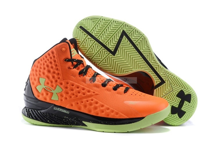 "Under Armour Curry 1 ""Bolt Orange"" Orange Noir Chaussure de Basket"