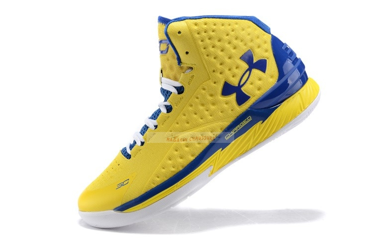 Under Armour Curry 1 Jaune Bleu Blanc Chaussure de Basket