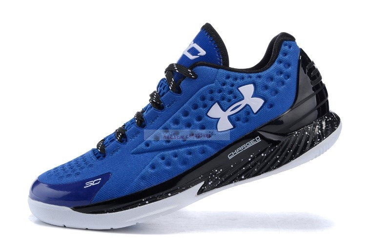 Under Armour Curry 1 Low Bleu Noir Blanc Chaussure de Basket