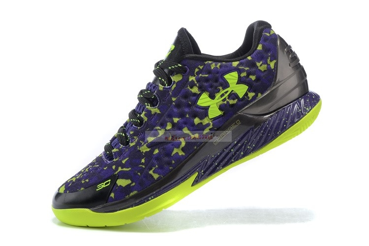 Under Armour Curry 1 Low Camo Pourpre Vert Chaussure de Basket