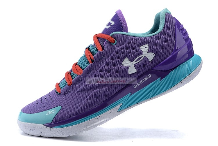 Under Armour Curry 1 Low Pourpre Bleu Rouge Chaussure de Basket
