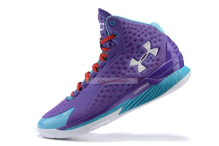 Under Armour Curry 1 Pourpre Bleu Chaussure de Basket