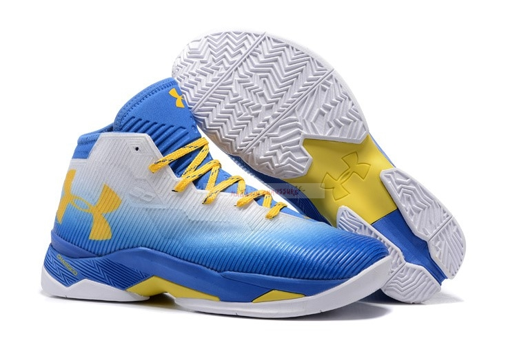 "Under Armour Curry 2.5 ""73 9"" Blanc Bleu Chaussure de Basket"