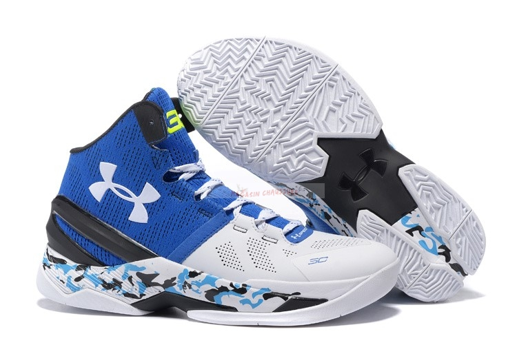 Under Armour Curry 2 Camo Bleu Blanc Chaussure de Basket