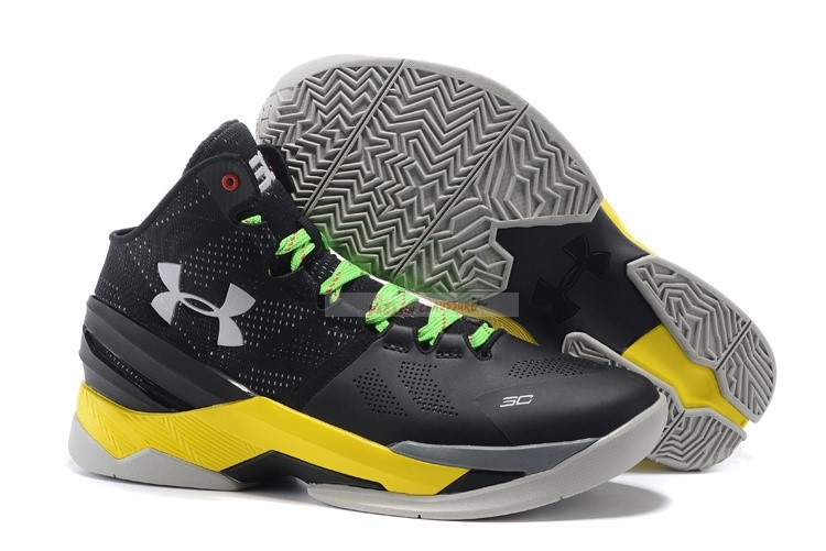 Under Armour Curry 2 Gris Jaune Chaussure de Basket