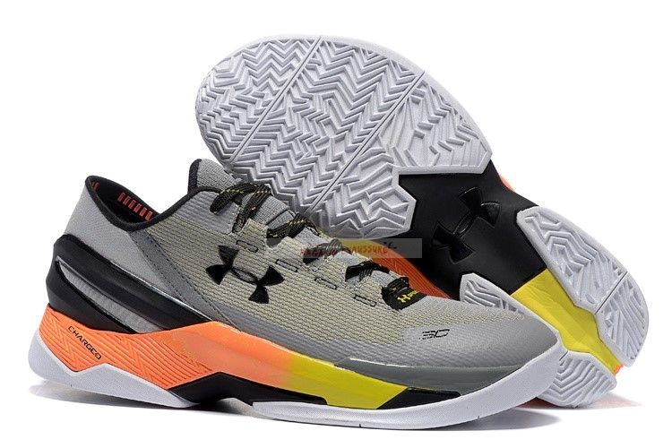 Under Armour Curry 2 Low Gris Orange Chaussure de Basket