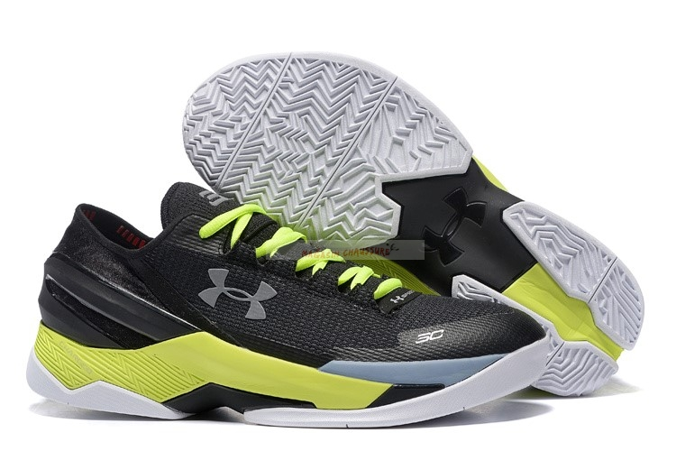 Under Armour Curry 2 Low Noir Argent Volt Chaussure de Basket