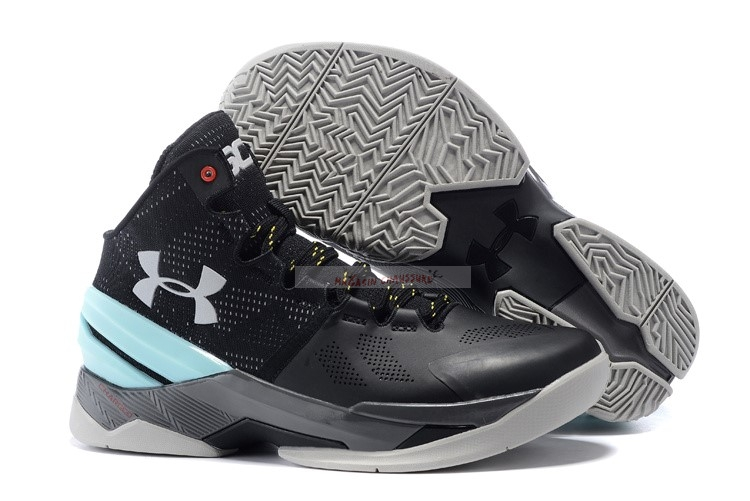 Under Armour Curry 2 Noir Gris Menthe Chaussure de Basket
