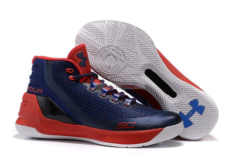 Under Armour Curry 3 Marine Blanc Rouge Chaussure de Basket