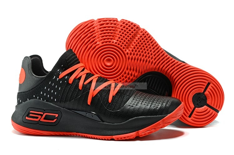 Under Armour Curry 4 Low Noir Rouge Chaussure de Basket