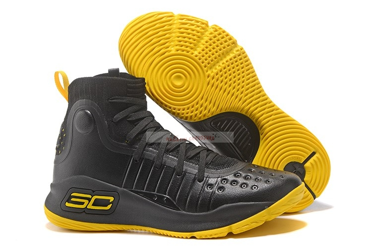 Under Armour Curry 4 Noir Jaune Chaussure de Basket