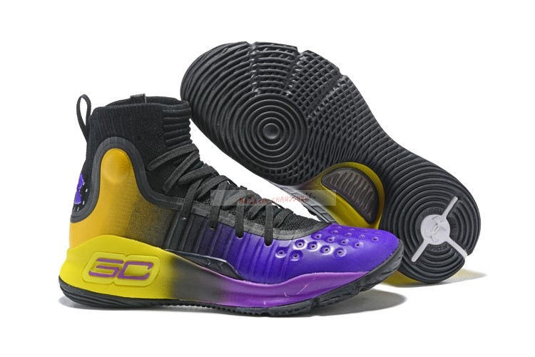 Under Armour Curry 4 Noir Jaune Pourpre Chaussure de Basket