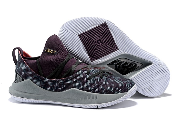 Under Armour Curry 5 Low Gris Pourpre Chaussure de Basket