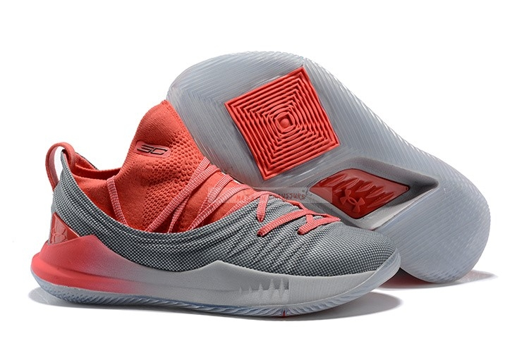 Under Armour Curry 5 Low Gris Rouge Chaussure de Basket