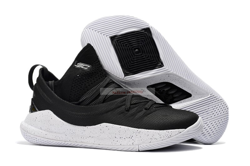 Under Armour Curry 5 Low Noir Blanc Chaussure de Basket