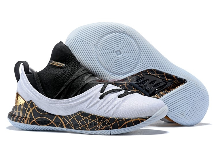 Under Armour Curry 5 Low Noir Blanc Or Chaussure de Basket