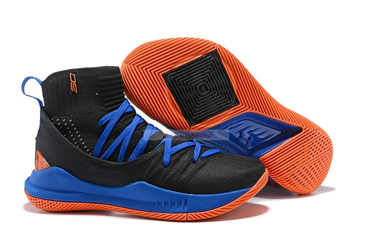 Under Armour Curry 5 Noir Bleu Orange Chaussure de Basket