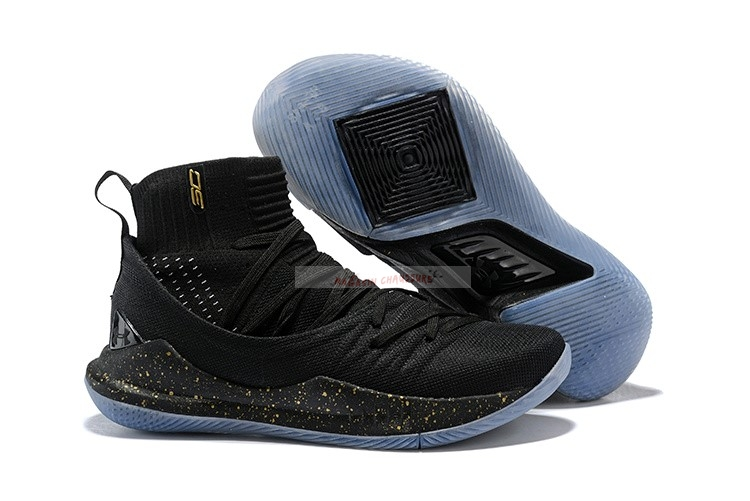 Under Armour Curry 5 Noir Métallique Or Chaussure de Basket