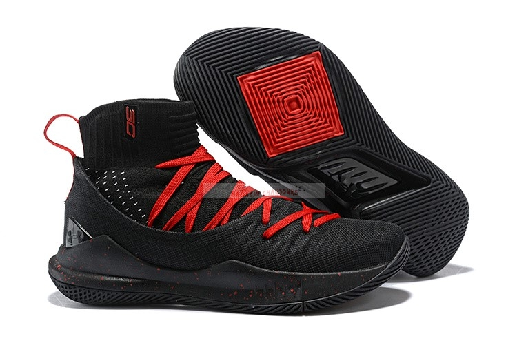 Under Armour Curry 5 Noir Rouge Chaussure de Basket