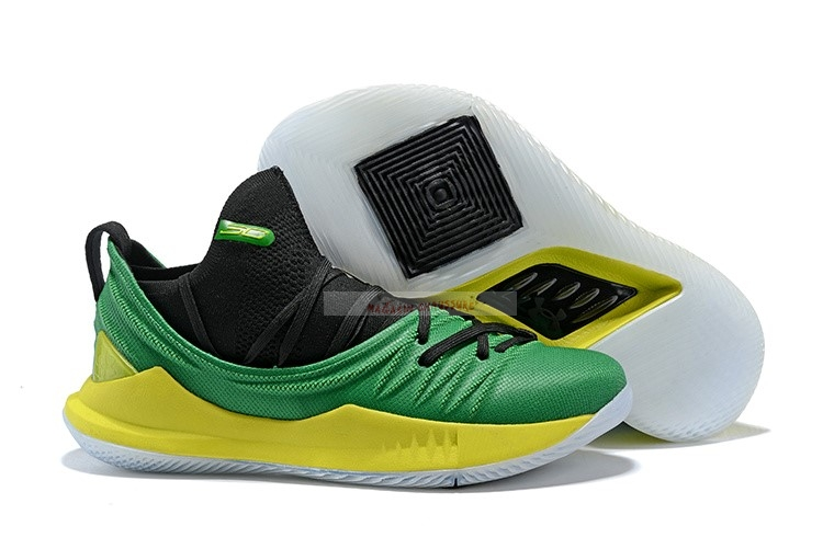 Under Armour Curry 5 Vert Jaune Noir Chaussure de Basket