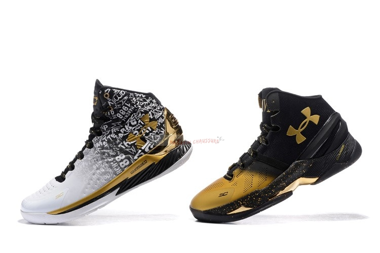 "Under Armour Curry ""Back To Back"" Pack Noir Blanc Chaussure de Basket"