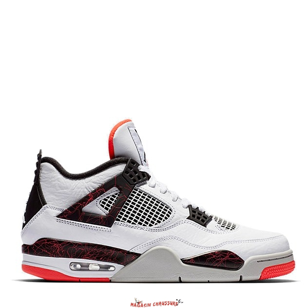 "Air Jordan 4 - Homme ""Pale Citron"" Blanc Rouge (308497-116) Chaussure de Basket"