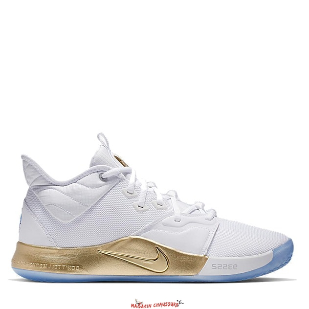 "Nike PG 3 - Homme Nasa ""Apollo Missions"" Or Blanc (CI2666-100) Chaussure de Basket"