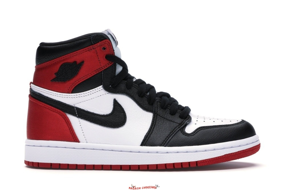 "Air Jordan 1 - Femme High Retro ""Satin Black Toe"" Noir Rouge Blanc (CD0461-016) Chaussure de Basket"