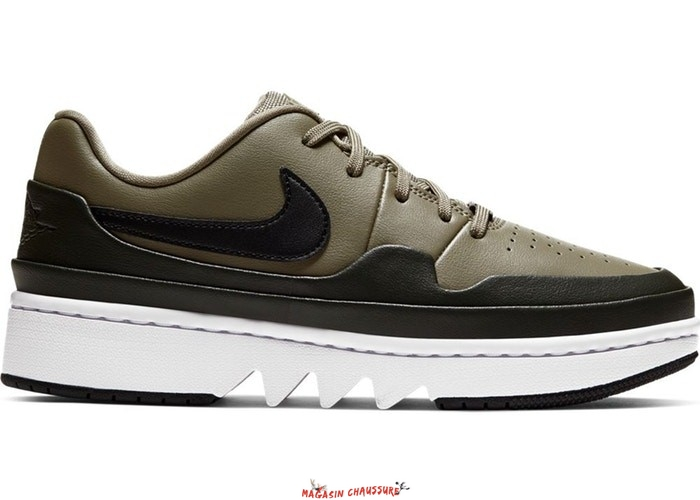 "Air Jordan 1 - Femme Low Jester XX ""Laced Trooper"" Olive (CI7815-201) Chaussure de Basket"