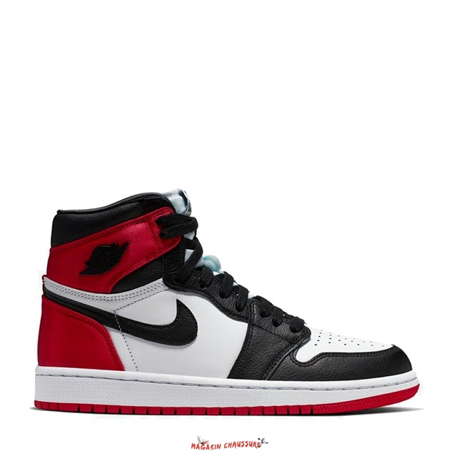 "Air Jordan 1 - Femme ""Satin Black Toe"" Noir Rouge Blanc (CD0461-016) Chaussure de Basket"