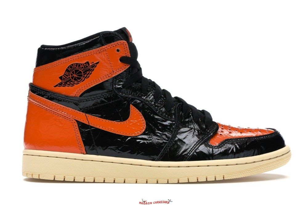 "Air Jordan 1 - Homme High Og ""Shattered Backboard 3.0"" Orange Noir (555088-028) Chaussure de Basket"